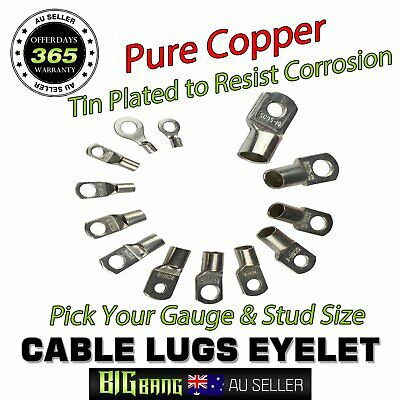 AU18.04 • Buy Stud Tinned Copper Terminal 6mm2-95mm2 Multiple Gauge Eyelet Cable Lugs Ring 10x