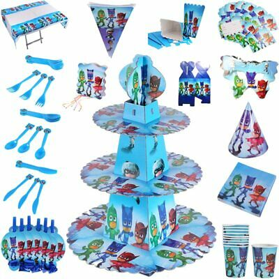 PJ Masks Birthday Party Supplies Catboy Owlette Gekko Tableware Balloon Decor UK • 4.95£