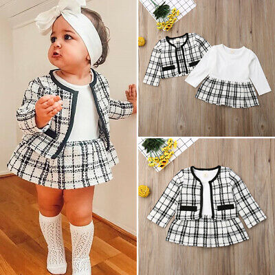 UK Toddler Baby Girls Winter Clothes Plaid Coat Tops+Tutu Dress Formal Outfits • 3.99£
