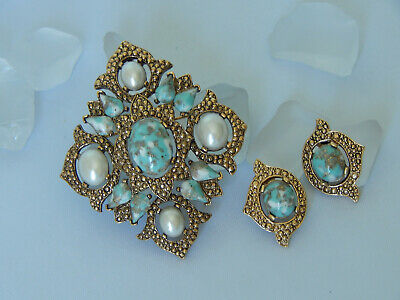 Vtg Sarah Coventry Remembrance Faux Pearl Turquoise Brooch Pendant Clip Earrings • 19.95$