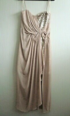 Ladies Kaleidoscope Sequin High Low  Strappy Evening Gown Size 16 Latte • 70£