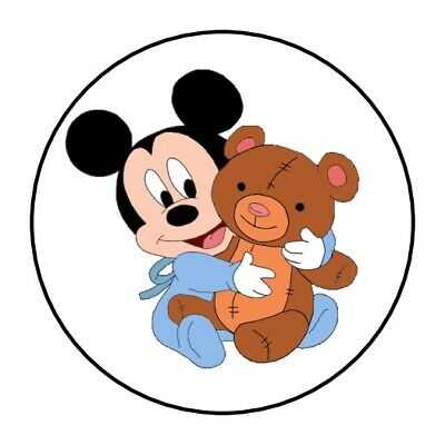 $3.79 • Buy 30 Baby Mickey Mouse Stickers Lollipop Labels Party Favors Teddy Bear 1.5  Round