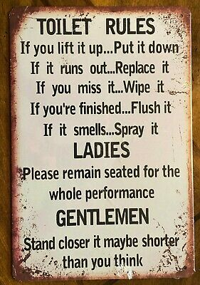 $5.99 • Buy Toilet Rules..If You Lift It Up Put It Down.... ~~~  8 X 12  Metal Sign Bathroom