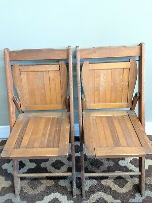 Wood Folding Chairs Vintage