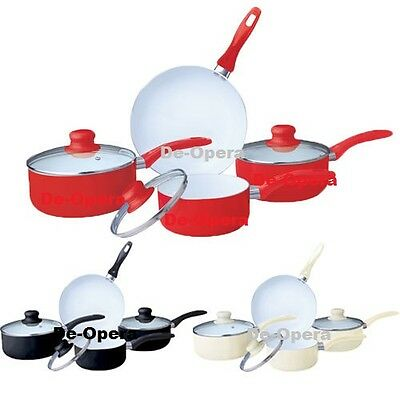 7pc Ceramic Cookware Set Saucepan Pot Glass Lid Kitchen Fry Pan Frying Non Stick • 31.95£