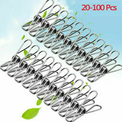 20-100PCS Metal Clothes Pegs Stainless Steel Laundry Washing Line Hanger Clip • 3.99£
