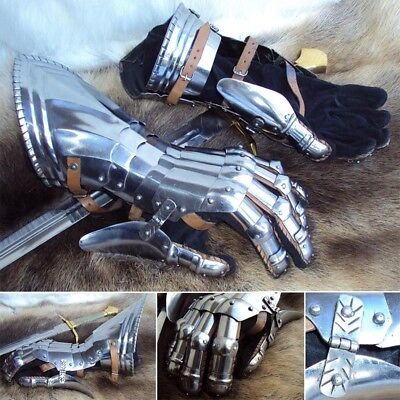 Medieval Steel Articulated Gauntlets. Ideal For Costume Or Re-enactment # • 105£