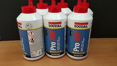 6 X SOUDAL PRO 40P POLYURETHANE PU WATER RESISTANT D4 WOOD RUBBER ADHESIVE 750g • 49£