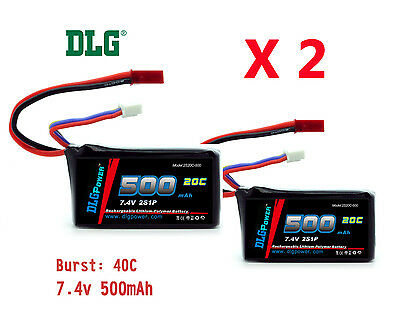 $ CDN21.89 • Buy 2x Genuine DLG RC Battery 7.4V 2S 20C 500mAh Burst 40C Li-Po LiPo JST Plug