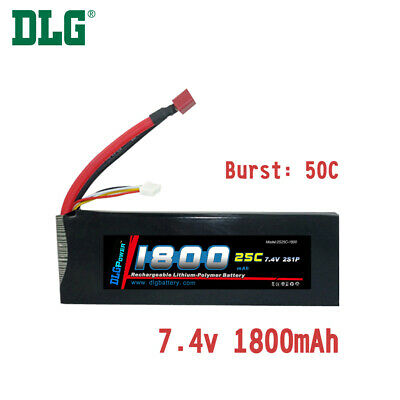 $ CDN24.99 • Buy Genuine DLG RC Battery 7.4V 2S 25C 1800mAh Burst 50C Li-Po LiPo Dean's T Plug