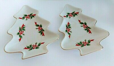 $8.99 • Buy 2 Holly Christmas Tree Dishes Made Expressly For Federated Department Stores