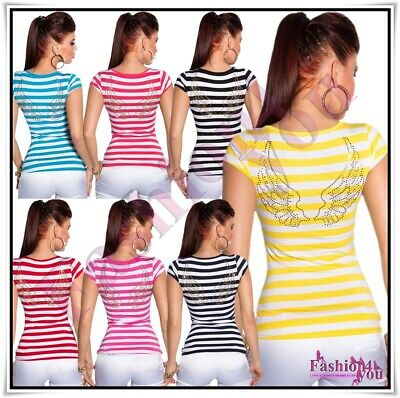 £12.99 • Buy Women's Top Striped Angel Wings Casual Tank Ladies T-Shirt One Size 8,10,12,14