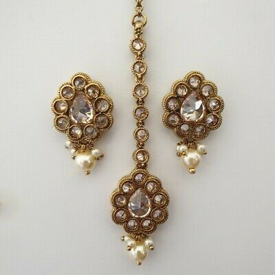 £12 • Buy Indian Jewellery Traditional Vintage Bridal Small Tikka Headpiece Set Gold Pearl