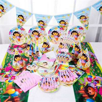 Dora The Explorer Birthday Party Supplies Kids Tableware Balloon Decoration Cups • 3.10£