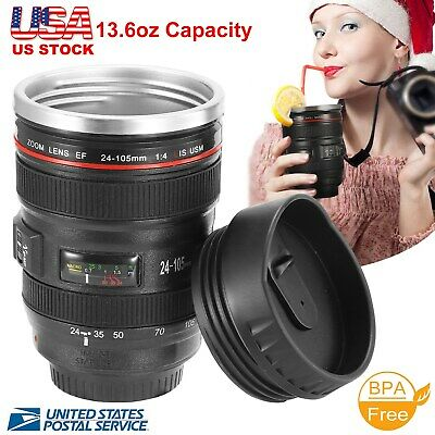 $11.58 • Buy Camera Lens 24-105mm Travel Coffee Mug / Cup With Drinking Lid Stainless Steel