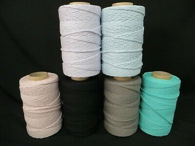 AU57.95 • Buy Coloured Cotton Macrame Single Strand Cord Rope 4mm X 270mtr Free Postage