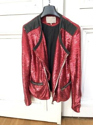 $ CDN224.95 • Buy Iro - Red Sequined Jacket « Longina »  Size 2 / M / 38 - US 8