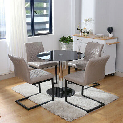 £175.14 • Buy Black Tempered Glass Kitchen Dining Table Set Reception Z-Shaped Chair 2/4 Seat
