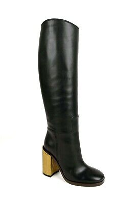 Gucci Women's Black Leather Boot With Gold Heel 34.5/US 4.5 431982 1000 • 430.36£