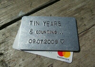 Tin Wedding Anniversary Gifts Personalised For Men Him Husband 10th Ten Years • 12.99£