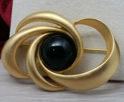 $30.95 • Buy Vintage M Jent Signed Modernist Abstract Faux Onyx Stone Ritzy Gold Tone Brooch