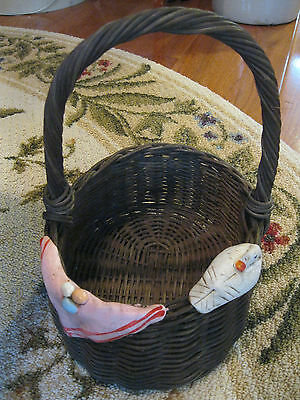 £8.52 • Buy Woven Basket W/ Ceramic Designs Duck Easter Eggs Holiday Home Decor Lightly Used