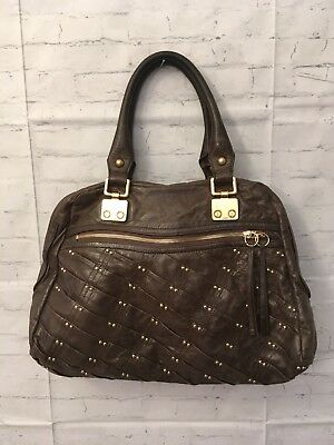 $39 • Buy Treesje Leather Grey Gold Bling Soft Handbag Purse Nice!