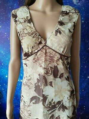 £9.99 • Buy Vintage MEXX Brown Floral Stretchy Lined A-Line Dress Size M 1097