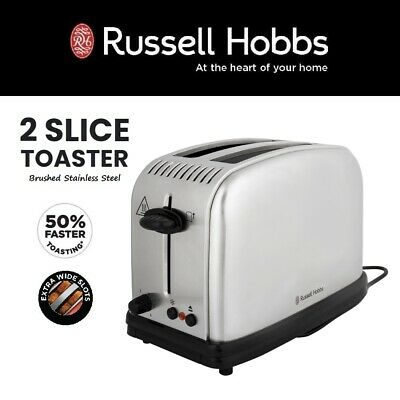 AU59.95 • Buy Russell Hobbs Extra Wide Slot 2 Slice Toaster With Crumb Tray Stainless Steel