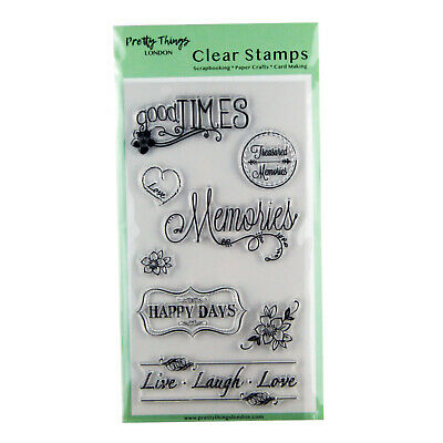 Clear Stamps Sentiments Words Flowers Live Laugh Love Memories 8 Stamp Set • 4.99£
