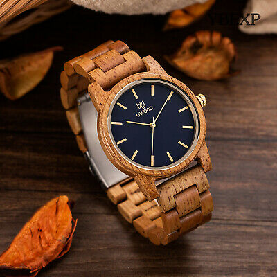$ CDN29.98 • Buy UWOOD Mens Wooden Watch Black Dial Natural Solid Wood Wristwatch For Classy Gift