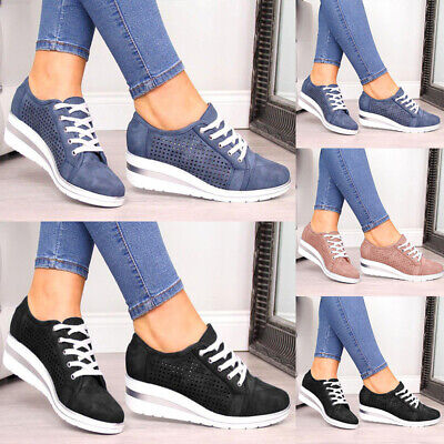 Women Wedges Heels Sneakers Trainers Ladies Lace Up Casual Sports Shoes Pumps • 13.09£