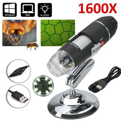 1600X Zoom 8 LED USB Microscope Digital Magnifier Endoscope Camera Video Stands • 11.99£
