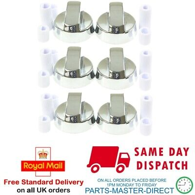 FITS BELLING STOVES NEW WORLD SILVER COOKER OVEN HOB CONTROL KNOB & ADAPTORS X 6 • 11.99£