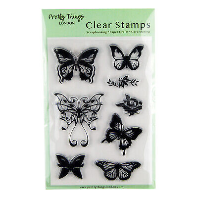 £4.99 • Buy Clear Stamp Butterflies Flowers Set Rose Card Making Scrapbooking 8 Stamps