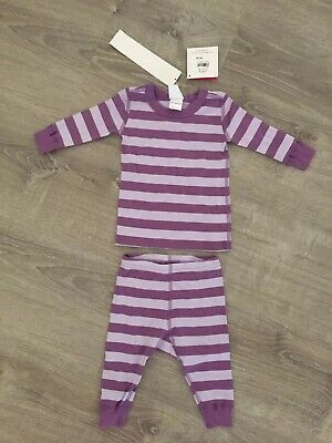 $17.99 • Buy New Girls Hanna Andersson PJs Pajamas Two-piece Striped Purple 60cm 3-6 Months