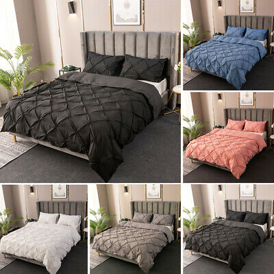 £35.50 • Buy Solid Duvet Cover Quilt Pillowcase Bed Set Twin Full Queen Super King All Size