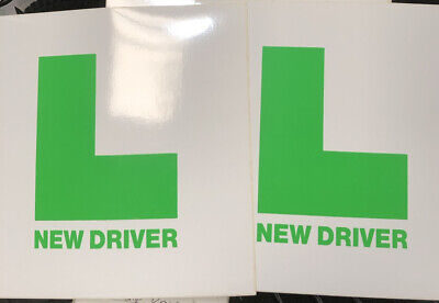 Learner  Plates Green New Driver  L Plates  Pair Stick On & Tie On • 1£