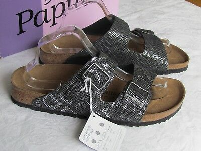 NEW Papillio Birkenstock Arizona Ladies Black Silver Leather Sandals Siz 9 EU 43 • 69.99£