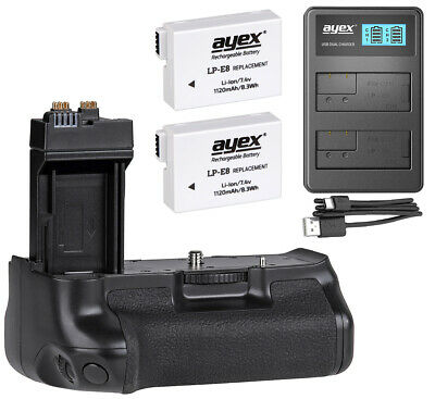 Ayex Battery Grip For Canon EOS 700D 650D 600D 550D With USB Charger U.2 Akkus • 57.38£