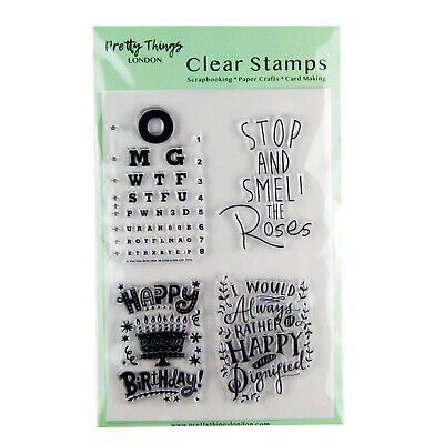 Clear Stamps Sentiments Words Birthday Pretty Things London Card Making • 4.29£