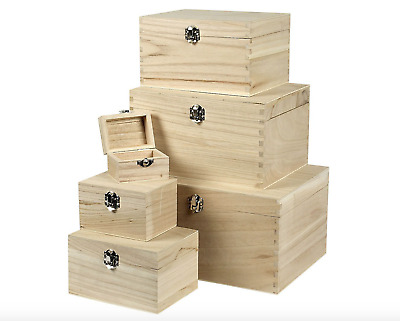 Plain Wooden Box - Hinged Lid Storage & Christmas Eve Boxes - 6 Sizes Rectangle • 10.49£