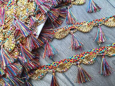 1 - 2 Metre Multicolour Rainbow Pom Pom Tassel Trim Fringe Lace Craft Ribbon • 4.60£