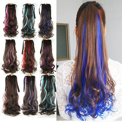£7.24 • Buy Mixed Color Curly Ponytails Clip In Hair Piece Long Wrap Around Hair Extensions