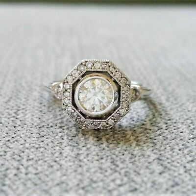 £67.99 • Buy 2Ct Round Cut Diamond Antique Halo Art Deco Engagement Ring White Gold Over