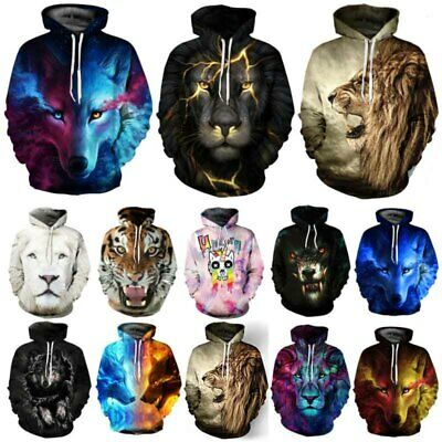 Unisex Galaxy Wolf Lion Tiger 3D Print Hoodie Sweatshirt Jacket Coat Jumper Tops • 16.43£