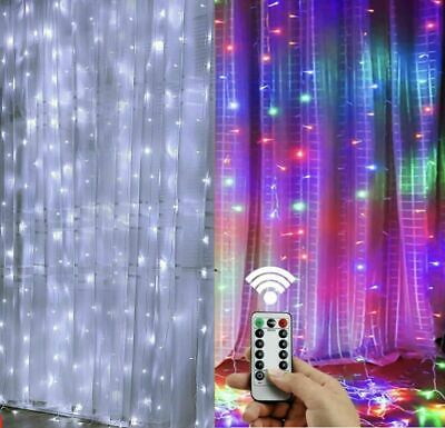 $11.87 • Buy 300LED/10ft Curtain Fairy Hanging String Lights Wedding Party Wall Decor Lamp US