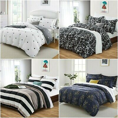 3D Duvet Cover Bedding Set With Fitted Sheet & Pillowcases Double King Size • 25.99£