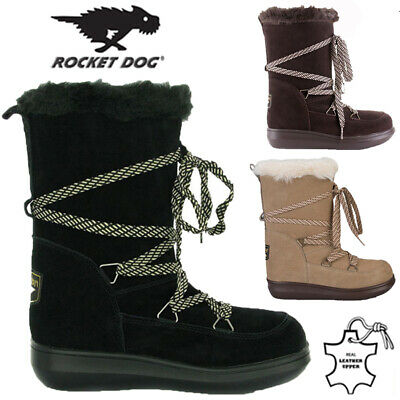 Rocket Dog Ladies Leather Fur Lined Winter Snow Warm Walking Hiking Boots Size • 19.95£