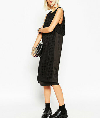 AU99.99 • Buy NWT $150 Premium WHITE Label Layered Midi Dress With Laser Cut Detail By Asos
